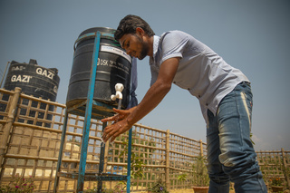 IOM hand washing points set up throughout the Rohingya settlements of Cox's Bazar.