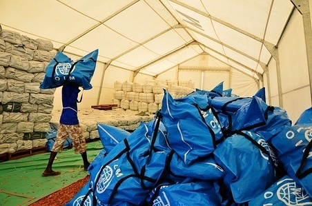 Non-food item (NFI) kits are prepositioned at an IOM warehouse in Juba, South Sudan. As lead of the Shelter and NFI Cluster in South Sudan, IOM helps humanitarian partners to rapidly and efficiently deliver relief supplies throughout the country.