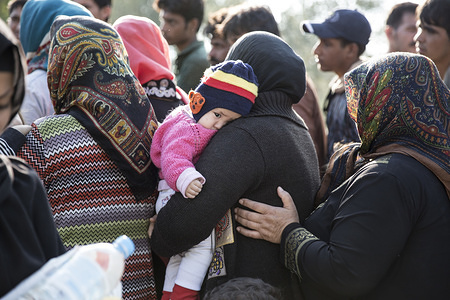 Migrants and refugees in the Greek island of Lesbos.
