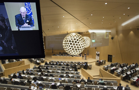 IOM's 106th Council. The Council opened 24 November 2015 and was held at the World Intellectual Property Organization (WIPO)'s new conference hall in Geneva, Switzerland. © IOM 2015 IOM Transit Centers, Niger.