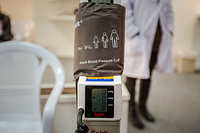 A machine used to determine blood pressure used in medical evaluations.