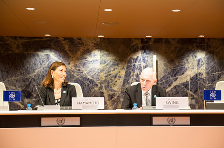 Ambassador William Lacy Swing and Ambassador Pamela Hamamoto at IOM's 5th Global Chiefs of Mission Meeting