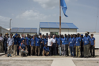 DG Swing, CoM Derthick with the Bentiu PoC team in May 2015 during the DG's visit to South Sudan.