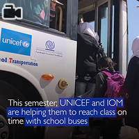 School Transportation.  Since mid-February 2017, IOM with UNICEF funding, started providing  school transportation services for Syrian students. These students are  enrolled in formal education inside Azraq camp and registered with IOM.