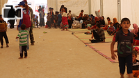Displaced Iraqis from West Mosul sit under a rubb hall in Hammam Al-Alil town, south east of the city, as they wait for their buses to transport them to other areas (whether camps or liberated areas that can provide shelter to them) after the families are screened by the authorities. Hammam Al-Alil became a transition hub for IDPs in recent months as the Iraqi forces pushed deeper into the West Mosul.