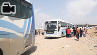Displaced Iraqis from West Mosul that were transported to the transition zone in Hammam Al-Alil town, south east of Mosul, are transported in buses to other areas camps/emergency sites that have room to shelter them, or alternatively to other liberated areas of East Mosul where returnee relatives of the families can take them in.
