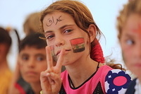 many had the Iraqi flag faces on their faces.
