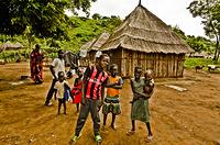 South Sudanese refugee children in Kule Refugee Camp.