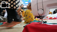Hajer and her mother come to the IOM Psychosocial center at Chamakor Camp for displaced Iraqis, east of Mosul, every day. Hajer plays with the children and spends time with other children, while her mother engages in voluntary puppet-making and other handcrafting activities. The puppets and other items produced in the center will be given to the displaced children.