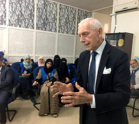 UN Migration Agency Director General William Lacy Swing speaks to some of IOM's 600 local staff in Sana'a, Yemen. Photo: Leonard Doyle / UN Migration Agency (IOM) 2017