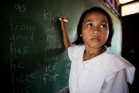 One of the students at Masepla Composite Learning School