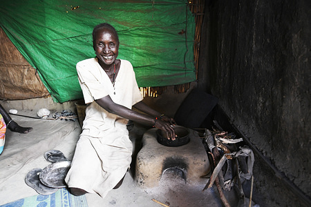 Beneficiary who recently constructed her own fuel-efficient stove