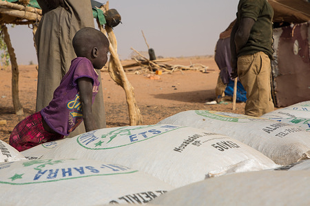Distribution of bags of Livestock feed in the region of Hodh El Chargui. To support the population during the difficult 'hunger gap', IOM is distributing bags of livestock feed in the villages.