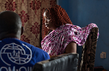 """Mariam tells her story to IOM Mauritania staff and IOM Sierra Leone during a monitoring session. At 16, Mariam suffered a marriage arranged by her family following the death of her father. """"When I left home, newly married, I was only a child who was afraid."""" Mariam left her country, Sierra Leone, to follow her husband who wanted to leave for Mauritania. After 16 years, she decided to go back in Sierra Leone with her two daughters."""