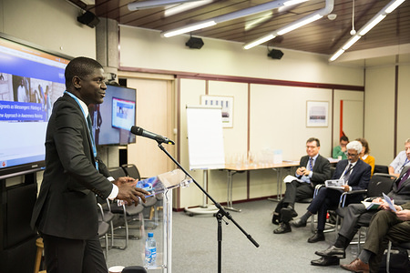 """The launch of the report """"Migrants as Messengers – The impact of peer-to-peer communication on potential migrants in Senegal"""" took place at IOM Headquarters in Geneva on 10 September 2019. The scientifically rigorous impact evaluation provides evidence on the impact of peer-to-peer awareness raising on informed and safe migration choices among potential migrants in West Africa. After presenting the results of the impact study, representatives from various international organizations discussed their experiences in advancing the evidence agenda within their respective fields."""